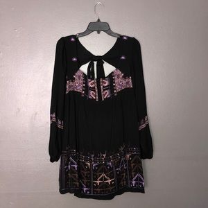 NWT free people black embroidered dress size s